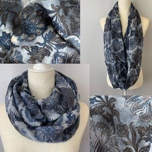 H&M Soft Semi-Sheer Blue Floral Infinity Scarf